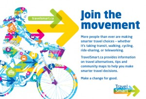 Community based travel marketing programs such as TransLinks TravelSmart program encourage people to get out of their cars an onto their bikes.