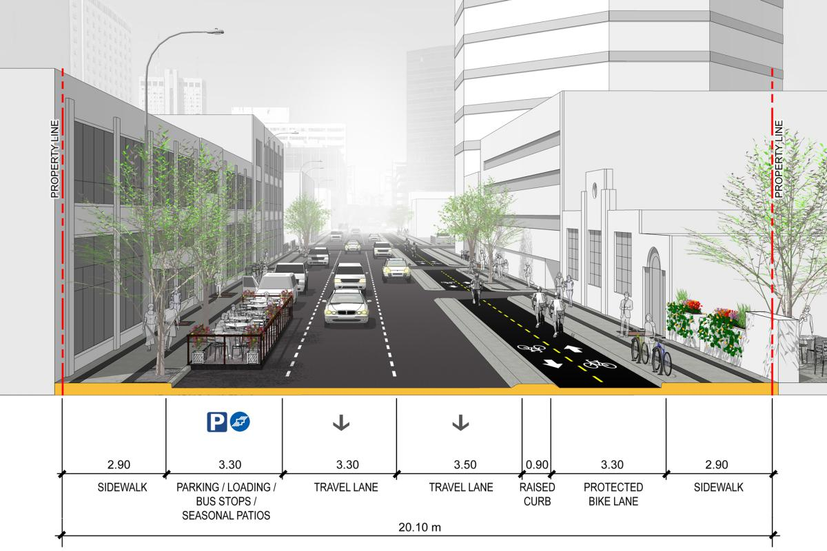 Downtown Protected Bike Lanes